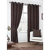 Hamilton McBride Faux Suede Eyelet Curtains - Chocolate