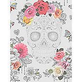 Sugar Skulls Wallpaper Grey And Silver Rasch 278033