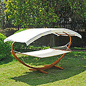 Outsunny Garden Patio Wooden Double Hammock Swing with Frame Stand (Cream)