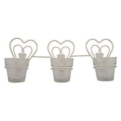 Wall Mountable Triple Metal Heart Glass Tealight Holder