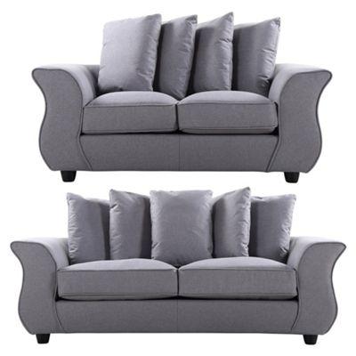 Sofa Collection Helena Herringbone Fabric 3+2 Seat Sofa - Medium Grey