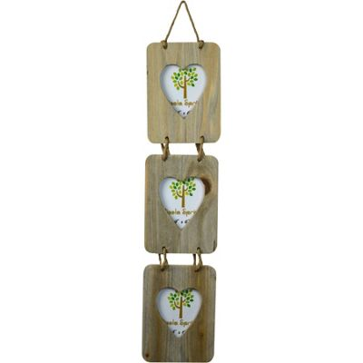 Nicola Spring Triple Heart Driftwood 3 Photo Hanging Picture Frame - 4 x 6