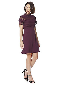 Vila Crochet Lace Fit and Flare Dress - Purple