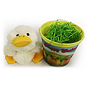3D Easter Bucket with Floppy Chick Soft Toy