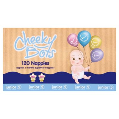 Tesco Cheeky Bots, Junior Size 5, 120 Nappies