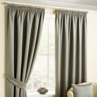 Homescapes Pewter Pencil Pleat Curtains with Woven Diamond Pattern 90x90