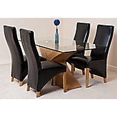 Valencia Glass & Oak 160 cm Dining Table with 4 Black Lola Leather Chairs
