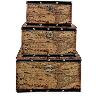 Set Of 3 Map Storage Boxes