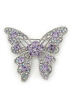 Dazzling Light Amethyst Swarovski Crystal Butterfly Brooch In Rhodium Plating - 6cm Length