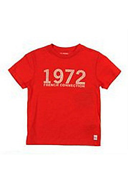 French Connection Red '1972' Logo Tee - Available Sizes - 3-4Y/4-5Y/5-6Y/6-7Y - Red