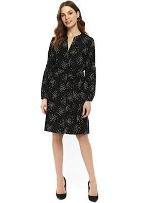 Wallis Spotty Tie Waist Shirt Dress Black 12