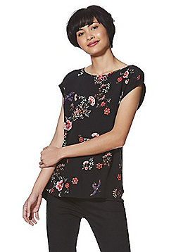 F&F Woven Floral Front Jersey Top - Black & Multi