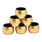 Round Napkin Rings in Gold - Pack Of 6