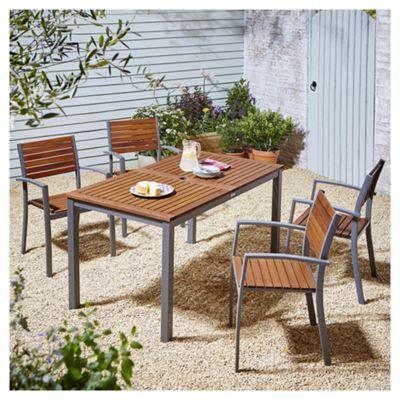 Kingsbury Metal and Wood 5 Piece Garden Dining Set