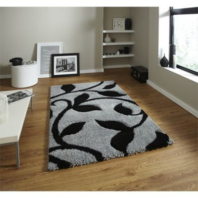 Fashion Grey & Black Stem Rug - 120x170cm