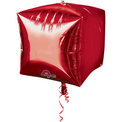 Cubez Red Cube Shaped Balloon - 24 inch Foil