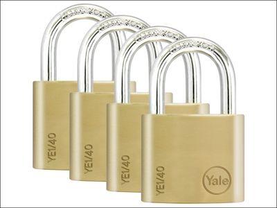 Yale Locks YE1 Brass Padlock 40mm (4 Pack)