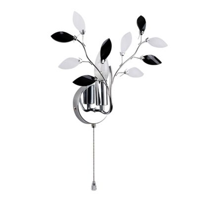 MiniSun Medusa Floral Single Wall Light Fitting with Pull Switch - Chrome & Black