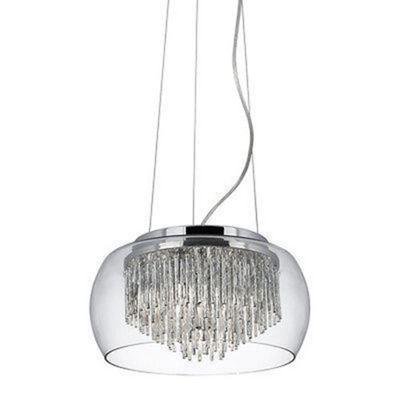 CURVA - CLEAR GLASS SHADE 4 LIGHT PENDANT/ALUMINIUM SPIRAL TUBES
