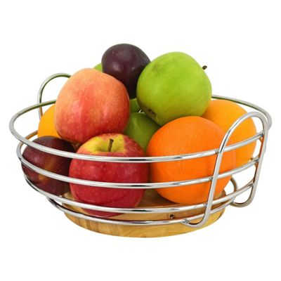 Round Chrome Wire Fruit Bowl with Rubber Wood Base