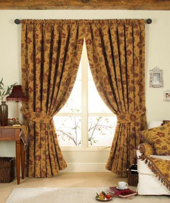 Riva Home Zurich Gold Pencil Pleat Curtains - 66x90 Inches (168x229cm)