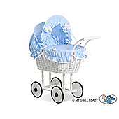 Handmade Girls Dolls Pram White Wicker - Blue