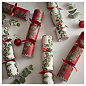 Luxury Red Holly Glitter Christmas Crackers, 6 pack