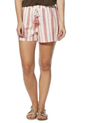 F&F Striped Tassel Drawstring Linen-Blend Shorts Red Multi 20