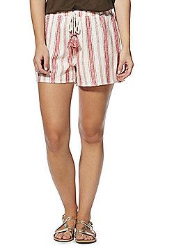 F&F Striped Tassel Drawstring Linen-Blend Shorts - Red Multi