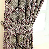 Homescapes Purple Jacquard Tie Back Pair Abstract Aztec Design