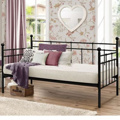 Happy Beds Lyon Metal Day Bed with Memory Foam Mattress - Black - 3ft Single