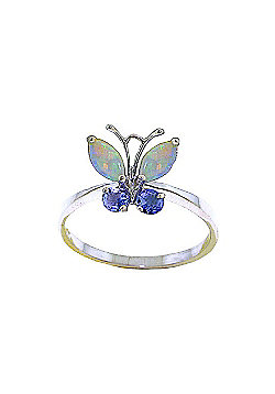 QP Jewellers Tanzanite & Opal Butterfly Ring in 14K White Gold