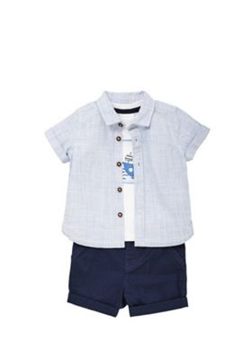 F&F Boat T-Shirt, Shirt and Shorts Set Blue/White 12-18 months