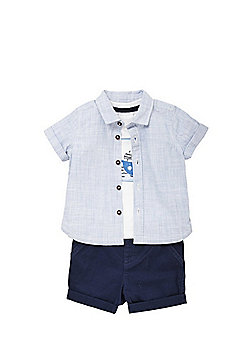 F&F Boat T-Shirt, Shirt and Shorts Set - Blue/White