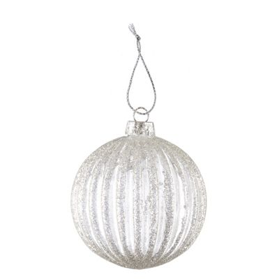 Silver Ribbed Christmas Bauble