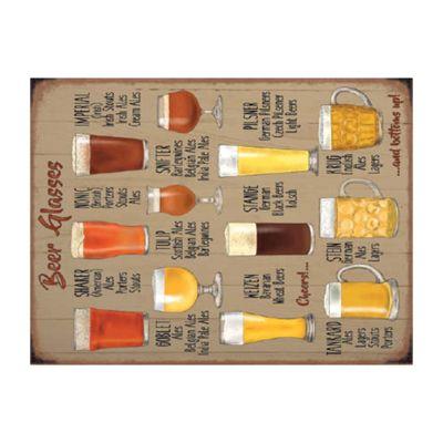 Beer Glasses Mini Metal Sign - 15x20cm