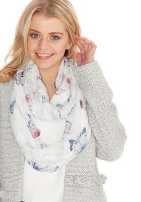 F&F Butterfly Foil Print Snood Cream One Size