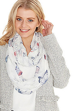 F&F Butterfly Foil Print Snood - Cream