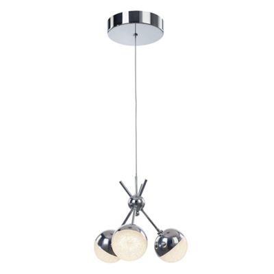 Litecraft Orb 3 Bulb Ceiling Cluster Pendant, Chrome