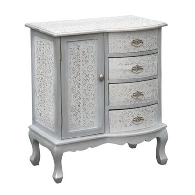 Chaandhi Kar White-Silver Embossed Chest of Drawers Width: 66cm
