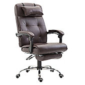 Homcom Executive PU Leather High Back Reclining Swivel Office Chair with Footrest (Brown)
