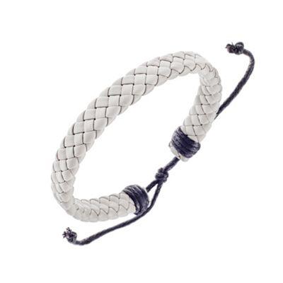 Urban Male Genuine Grey Leather Flat Plaited Surfer Bracelet