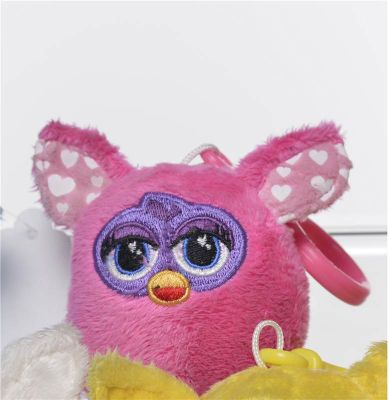 Furby 7cm Keychain - Plush, No Sound - Light Pink Hearts Ears