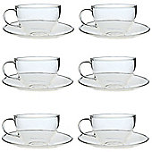 Clear Glass Cappuccino / Tea / Coffee Cup & Saucer - 260ml - Pack of 6