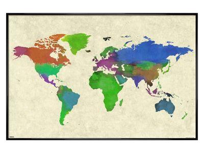 Gloss Black Framed World Map Watercolor Poster 61x91.5cm