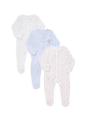 F&F 3 Pack of Little Garden Sleepsuits Multi 0-3 months