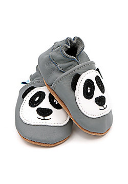 Dotty Fish Soft Leather Baby Shoe - Pitter Patter Panda - Grey