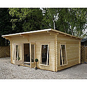 5.2m x 4m(13ft x 17ft) Sutton Pent Log Cabin (Double Glazing) 34mm T&G Garden Cabin - Fast Delivery - Pick A Day