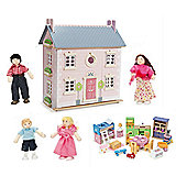 Le Toy Van Bay Tree House Dolls House with Starter Furniture Set and My Family of 4 Dolls