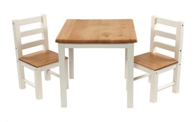 First Baby Safety Niels Table and Chair Set in White Wood